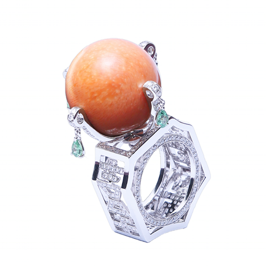 A Melo Pearl ring of high octane rarity meets Art Deco design, crafted by Confetti by Mui, Singapore.