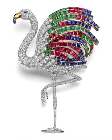Flamingo brooch worn by the Duchess of Windsor. Cartier Paris, special order, 1940