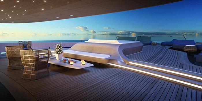 Deck - Fincantieri Ottantacinque yacht concept designed by Pininfarina